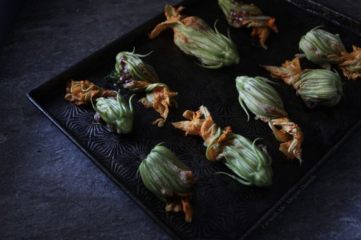 Stuffed Zucchini Flowers - Vietnamese spiced pork food photography. Styling and Photography: Megan Daniels    Styling anf p