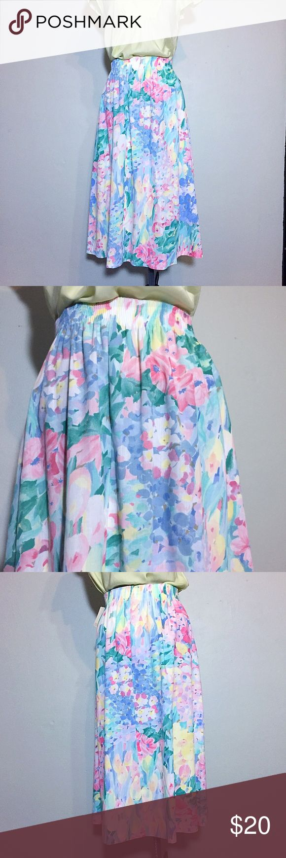 """Vintage New Watercolor Floral Midi Skirt or Dress Rare Find- Vintage with Original Store Tabs Attached! Alfred Dunner Watercolor Floral Midi Skirt or Dress with tags from Foley's Department Store. Wear as a Midi Skirt or a Summer Dress as shown. Size 16 on tag but will fit a variety of sizes- 15-21"""" across top, 27"""" across hips, 40"""" across bottom, 30"""" long. Made in USA. There it's no material tag. Belt shown with dress no included. 611/25/061617 Vintage Skirts Midi"""