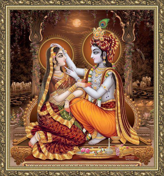 Celestial Love Paintings Detail - All India Arts. Artist: Yogendra Rastogi http://www.allindiaarts.com/painting_detail.asp?paint_id=398=eu