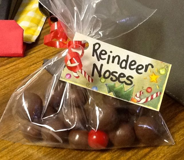 Reindeer Noses...chocolate & 1 redhot for the replacement nose. Rudolph has a job to do Every Christmas Eve, it's true. His nose will always light the way For Santa and his tiny sleigh, But if his nose should ever go out Don't cry or whine or yell or pout. Take out this bag and use a bit. From Rudolph's Red Nose repair kit!