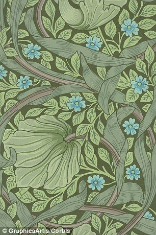 Forget-me-not flowers and ranunculus leaves, designed by William Morris. Woodblock print, ...