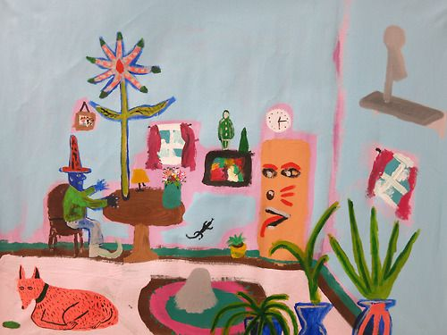 patrick cruz Grand Wizard testing spells in his living room, acrylic on canvas, 28x34, 2014