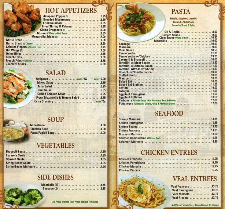 Best Menus  Restaurants Images On   Restaurant