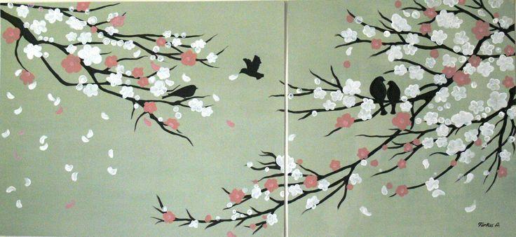 Cseresznyevirág, madarak (akryl) 2015.