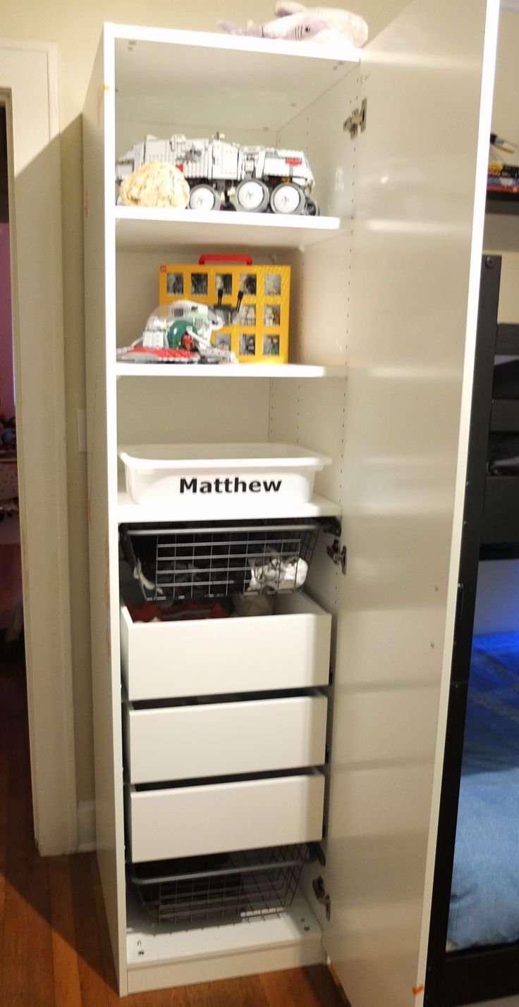With a whole family sharing closets, the Home Tour Squad decided to give each boy his own PAX wardrobe for clothing and keepsake storage.