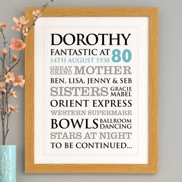 This Personalised 80th Birthday Word Art Will Make A Striking Statement On Their Special Personalised Gifts Online Typographic Art Print Personalized Wall Art