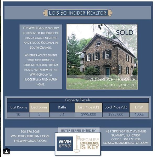 The WMH Group at Lois Schneider Realtor - Instagram Recap July 2017, 510 Grove Terrace, South Orange, NJ, For Sale, Move to South Orange, Colonial Elegance
