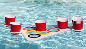 Summer fun in your pool with a floatable beer pong table! http://www.pointpong.com/