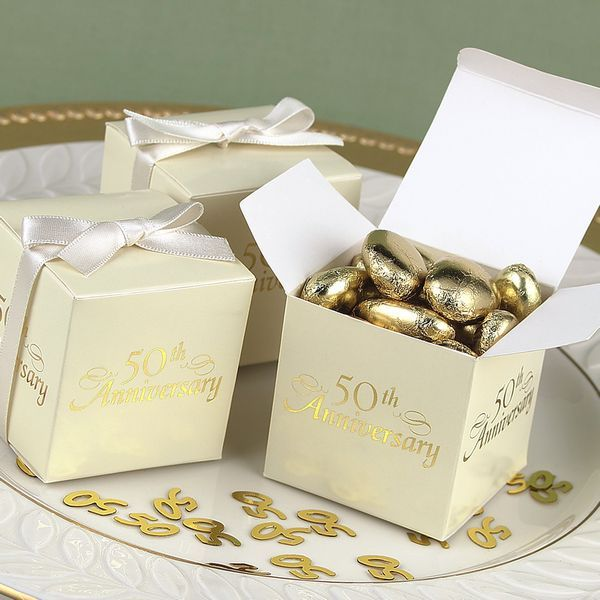 2 X Ivory 50th Anniversary Favor Boxes