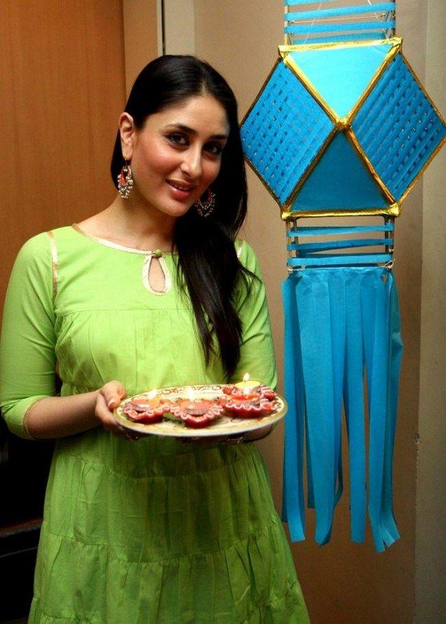 Kareena Kapoor in a green kurti during a Diwali photoshoot. #Bollywood #Fashion #Style #Beauty