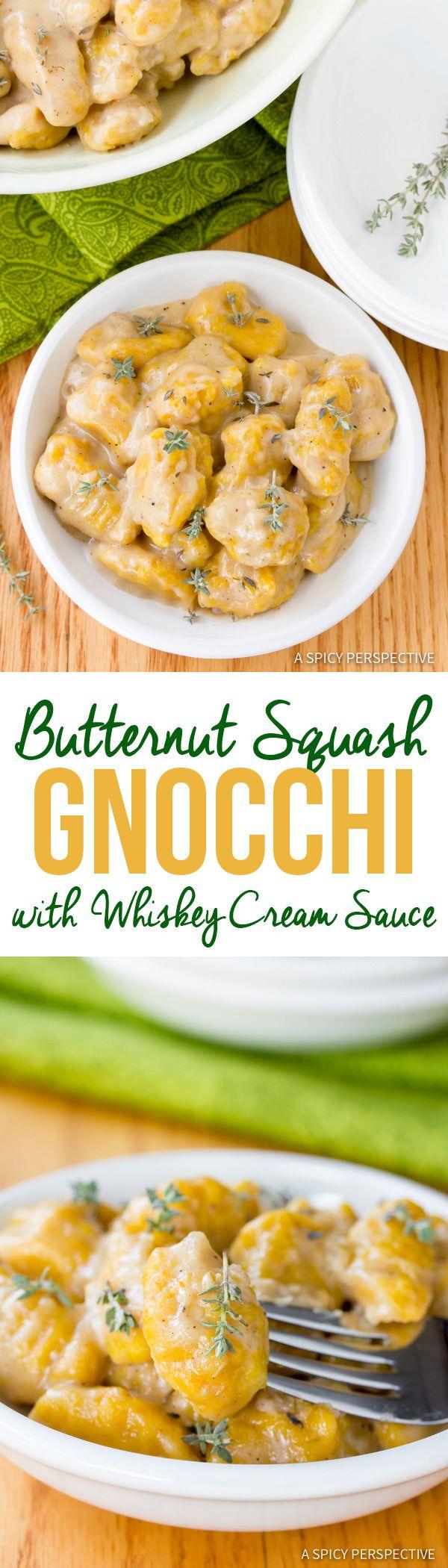 Amazing Butternut Squash Gnocchi with Whiskey Cream Sauce | ASpicyPerspective.com