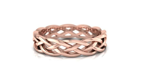 Wedding Ring Bands >> 14K Braided Rose Gold Celtic Wedding Ring by ...
