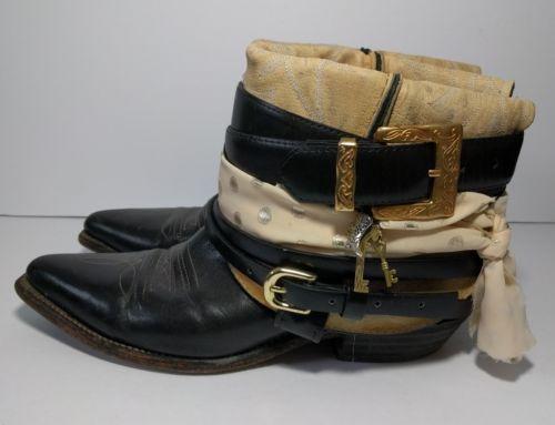 Boho Gypsy Black Leather Cowboy Boots Size 9 Vintage OOAK Handmade Hippie Pirate