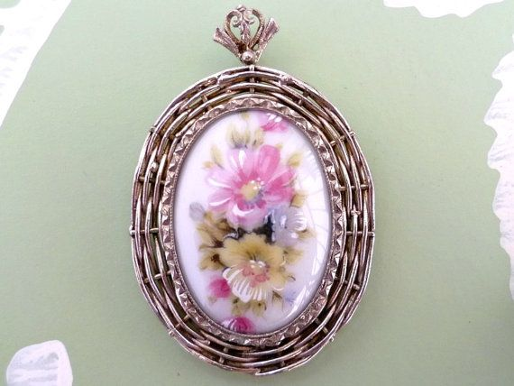 The 25 best cameo pendant ideas on pinterest cameo jewelry antique vintage large cameo pendant hand painted floral design porcelain marked mozeypictures Images