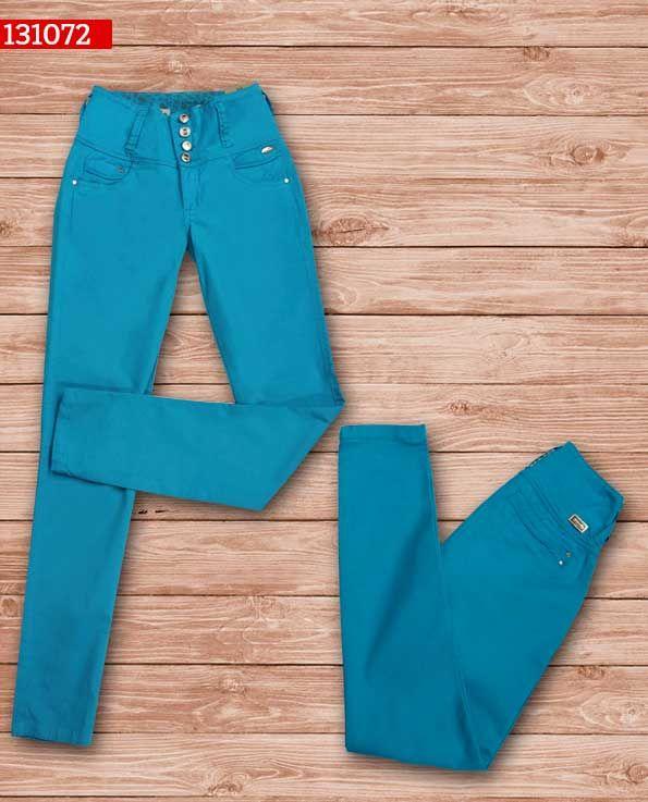 Pantalon-dama-color azul-bota-recta-ref-131072-1 #fashion #women #ropademoda