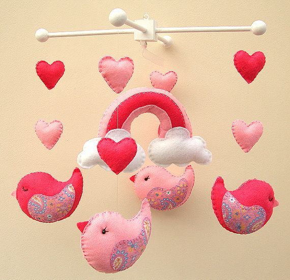Pink Bird Mobile  READY TO SHIP by FlossyTots on Etsy, £54.99