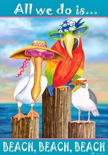 "Humorous Beach Decor Flag Designed by Artist Mary Lou ""Beach, beach, beach..."""