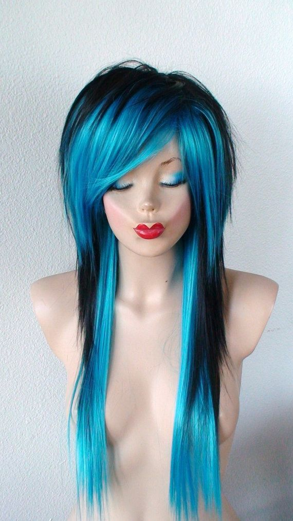 Scene wig. Black / Turquoise Long layered Emo by kekeshop on Etsy