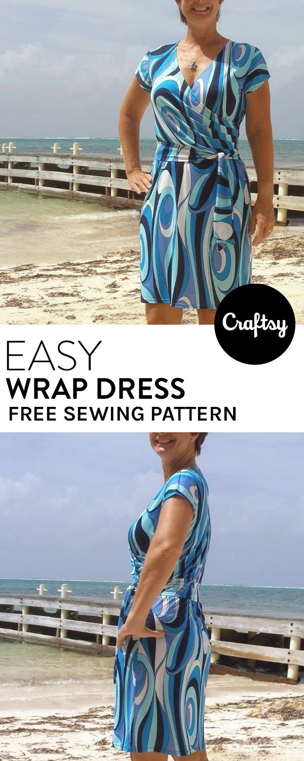 This simple yet beautiful wrap dress pattern sews up fast and makes the perfect summer outfit wear it as a beach cover up or dress it up for a night out on