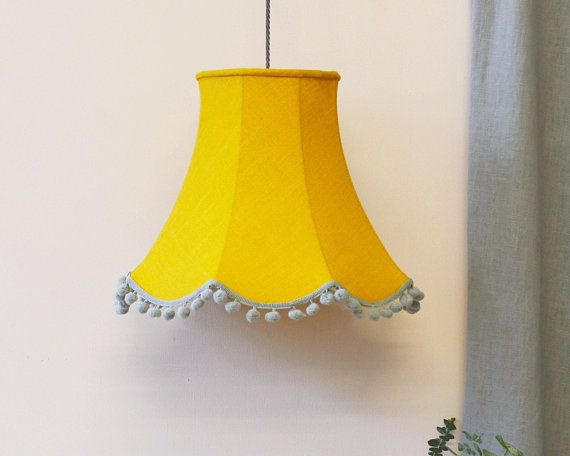 Yellow Linen Lampshade Hanging Etsy Hanging Lamp Shade Lamp Yellow Lamp Shades