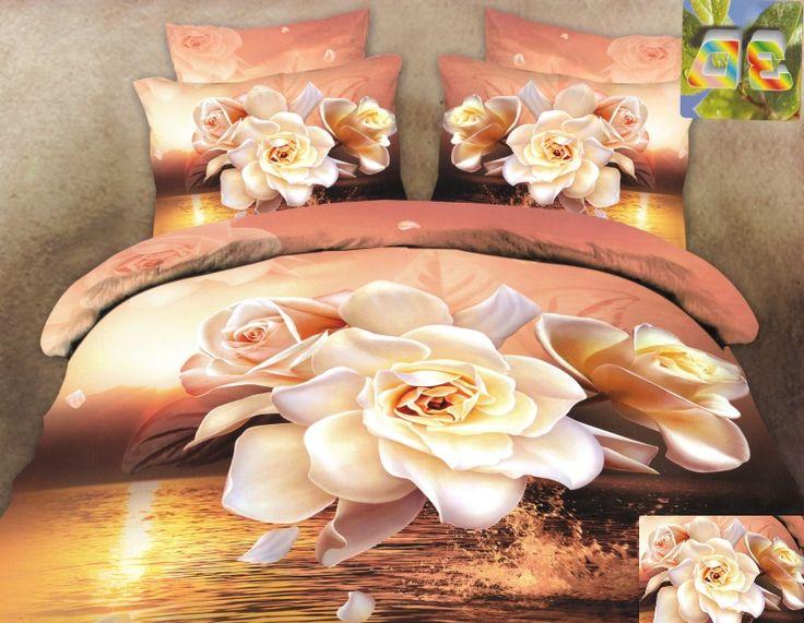 Pościel beżowa z bawełny z kremowymi różami