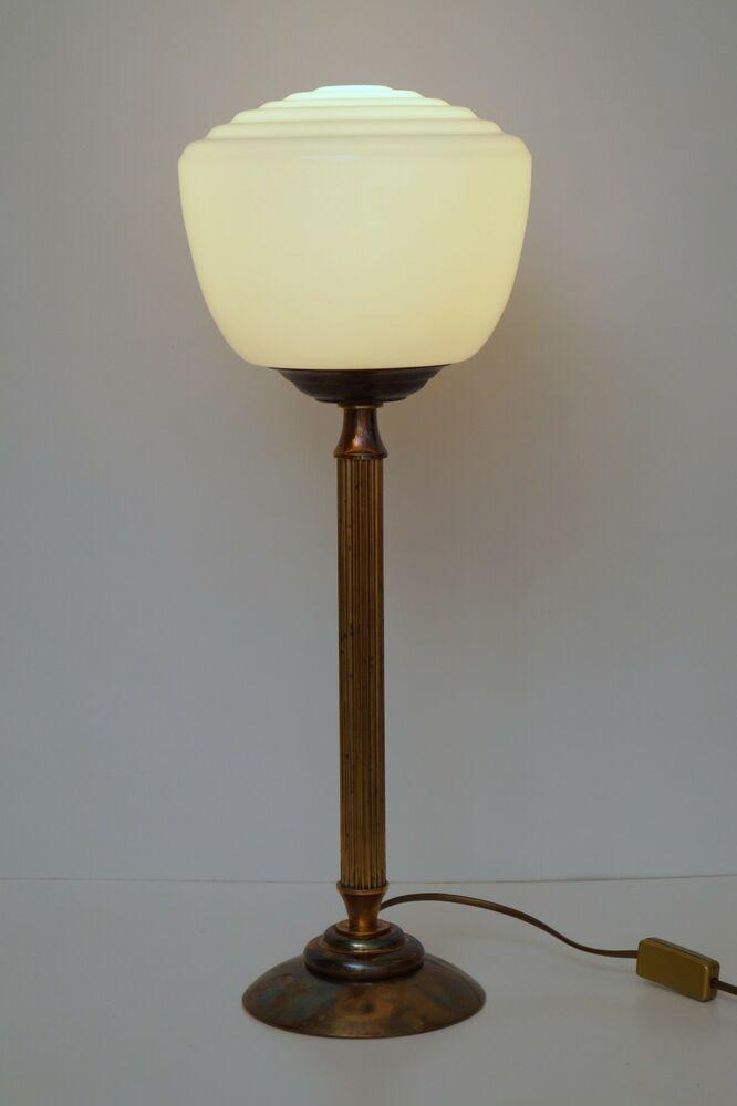 Jugendstil Tischleuchte Bronze Messingfuß Glas Nachttischlampe Leuchte