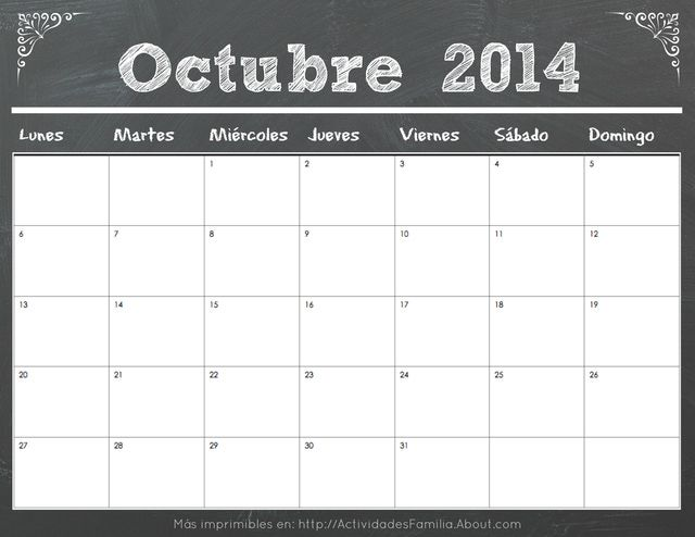 Calendario De Celebraciones En Octunkjbjbre 2014