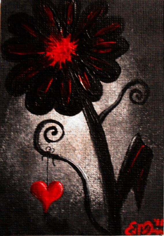Aceo sale dark art gothic lowbrow emo punk flower red for Dark red paintings