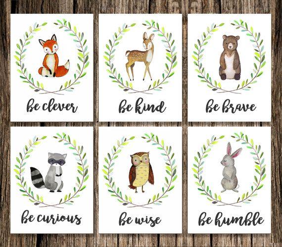 Woodland Animal Nursery Decor | Fox Deer Raccoon Owl Bunny Rabbit Bear | Woodland Creatures Be Brave Be Kind Be Curious Be Clever | Wall Art