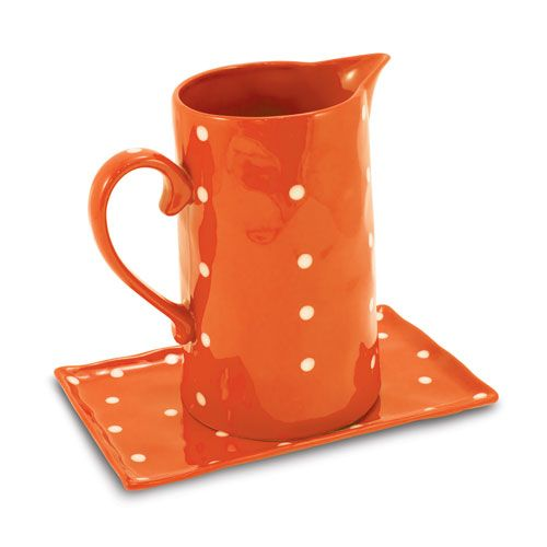 Sprinkle Pitcher and Tray, Orange Two Piece Set