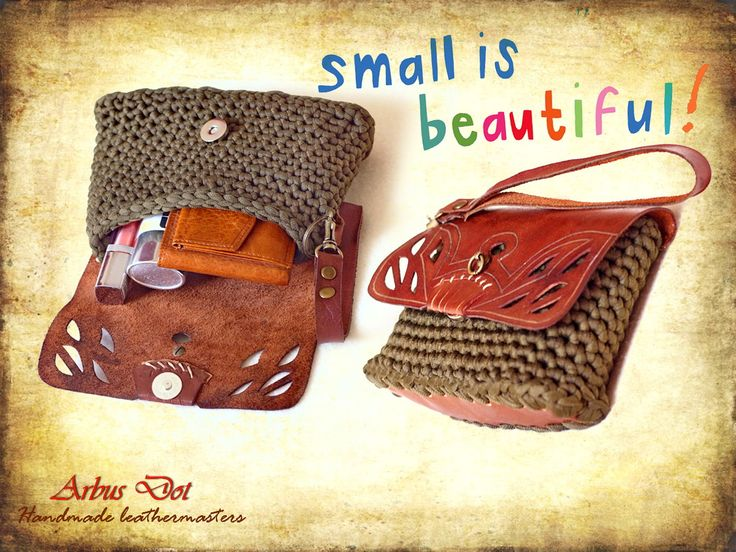 handmade leather-crochet small purse!
