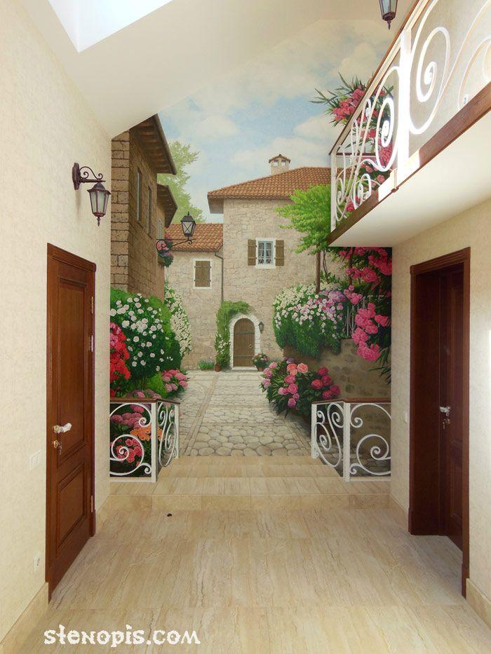 Роспись стены итальянский дворик