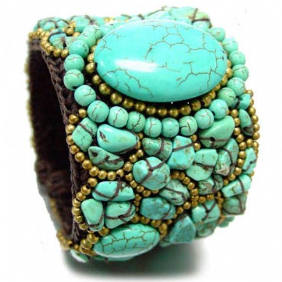 Turquoise stone cord cuff bracelet.