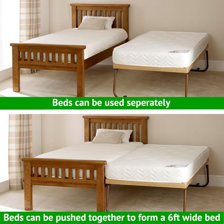 Rustic Solid Oak 3ft Single Bed with Fold Away Oak Guest bed Underbed