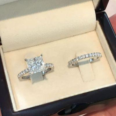 Certified 2.50CT Princess Cut Diamond Engagement Wedding 14K White Gold Ring Set