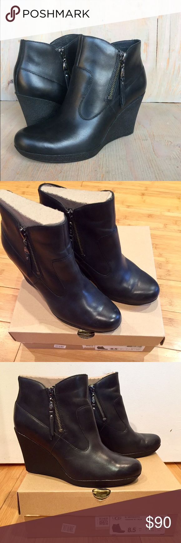 UGG Australia Meredith Black Leather Zip Booties Size 8.5 • zipper closure on each side of each bootie • textured heeled wedge with non-slip surface • sheepskin inner footbed • worn maybe a few times • practically new • too narrow for my wide feet • reasonable offers welcome • comes with authenticity card & dust bag • bought from Nordstrom last year (stock photo is first pic) UGG Shoes Ankle Boots & Booties