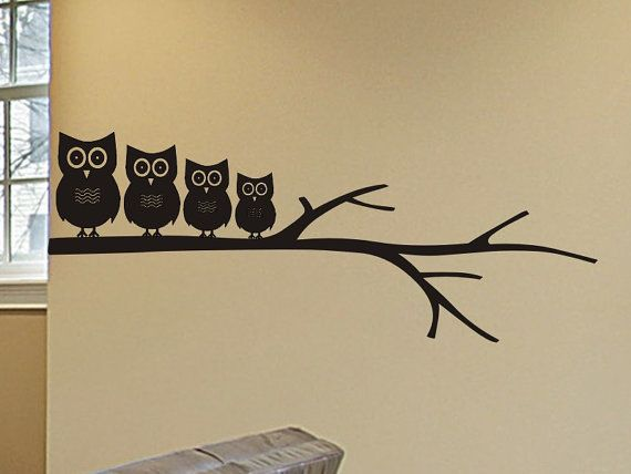 Wall Decal Set Owl Family on a Tree Branch by vgwalldecals on Etsy, $23.00