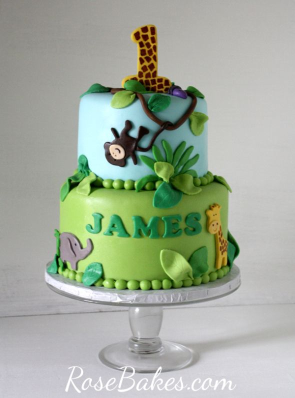 Jungle 1st Birthday Cake & Smash Cake. Hop over to RoseBakes.com for all the deets!! #cake #jungle #1stbirthday