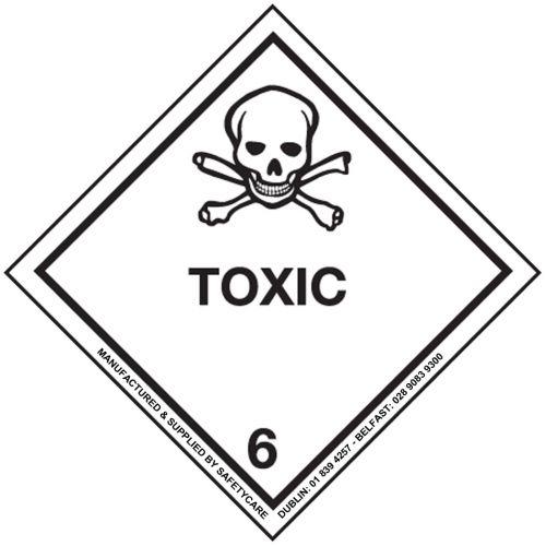 Class 6 Toxic Substances Hazard Diamond Label 300x300mm