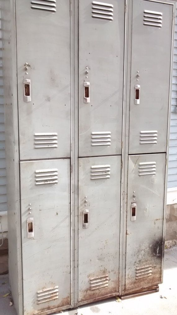 Lovely Lyon Locker Unit 6 Door 3 Section Unit. Fabulous Industrial Decor. Love the handles, aged and worn paint and shabby industrial look of