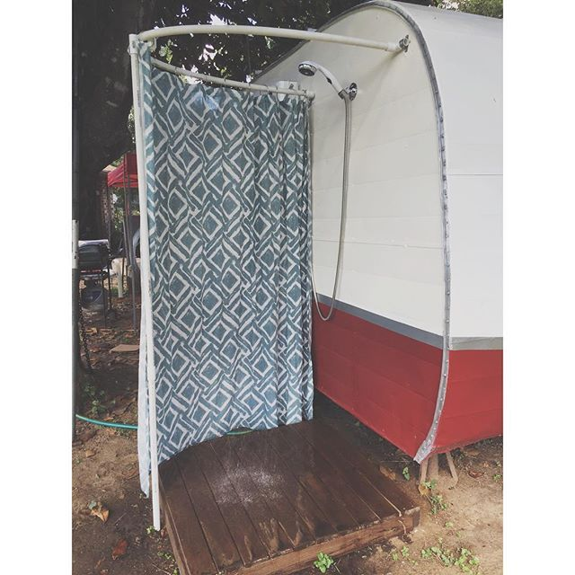 """Well other than having to get another curtain #Motelcamper's outdoor shower is complete. When it finds its final resting place I'll design it to have the water runoff feed into a garden along with the grey water from my sink. I already have my ideas. For me, It's more than just living simply, but living efficiently also. It's been my motto with #Hotelprius, and something I've take pretty seriously over the years. Call me """"granola"""" but I believe in cutting back on our waste and water usage…"""