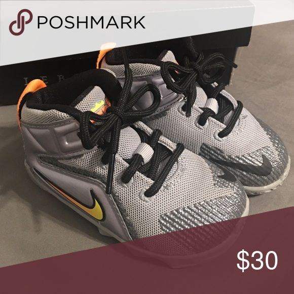 Lebron James sneakers size 6c (toddler) Lebrun XII (TD) 6c toddler shoe excellent condition and not worn very often.  At this age my son was not even walking so the bottoms look new as well. Shoes
