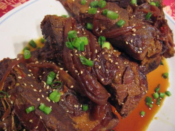 Crock-Pot Asian-Sesame Pork Ribs from Food.com:   								This is an easily assembled slow cooker recipe. I serve the sauce on the side, along with white rice and Chinese pea pods or sugar snap peas.
