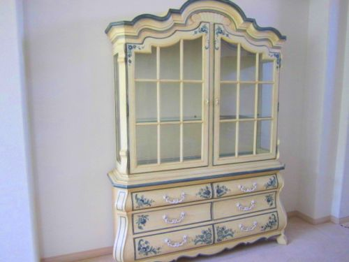 Drexel Heritage French Country Rococo China Cabinet Buffet Hutch Blue Delft