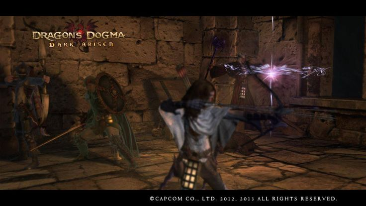 Dragon's Dogma: Dark Arisen, the one in all white is my assassin Axel lvl 93 and the sorcerer in the back is my main pawn Demitri. This picture was taken in Bitterblack Isle in the Fortress of Remembrance while fighting an Eliminator.