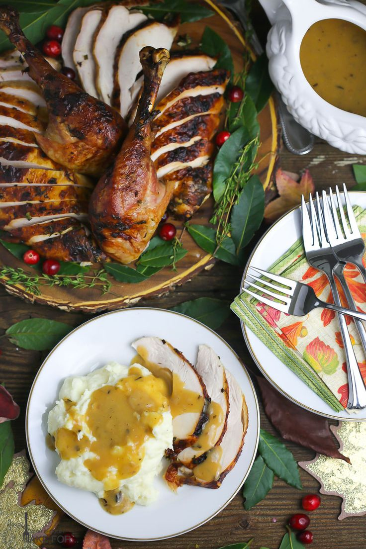 garlic and herb roast turkey with cider pan gravy culinary arts turkey ...