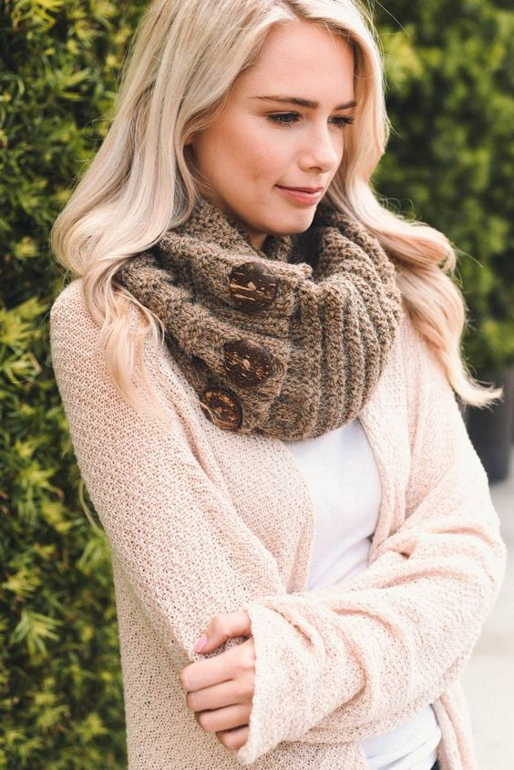 lacey knit button infinity scarf Colorado Chick  wholesale cc beanies