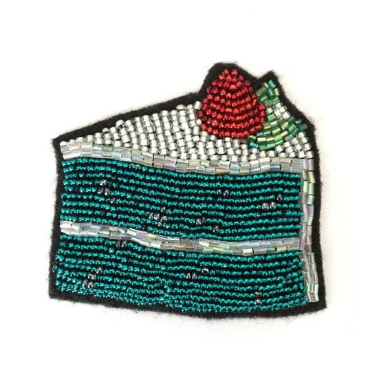 SLICE OF CAKE with Strawberry--Hand Glass Beaded Patch on Felt for Jackets…