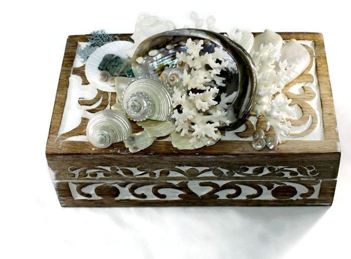 Pearl and White Seashell Box -Carved Shell Box -Seashell Jewelry Box by GoneCoastalDesigns on Etsy  $100