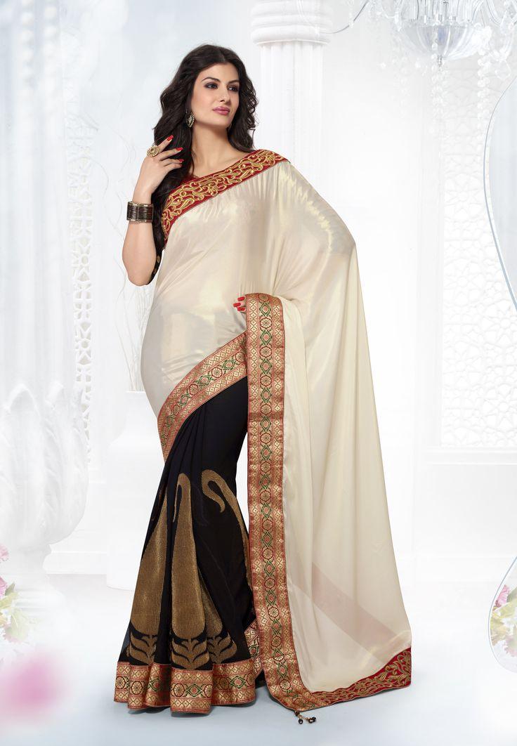 cream and black golden embroidery #designer #wedding #saree